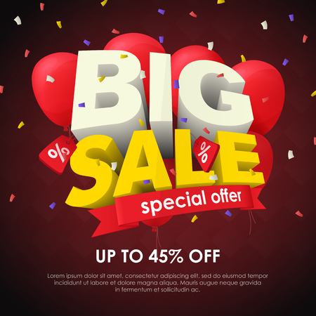 Sale banner template design. Big sale special offer. Seasonal discounts. 3d letters and red balloons on a dark background. Sale poster for the site and promo ads. Fashionable vector Illustration Stock Vector - 109909109