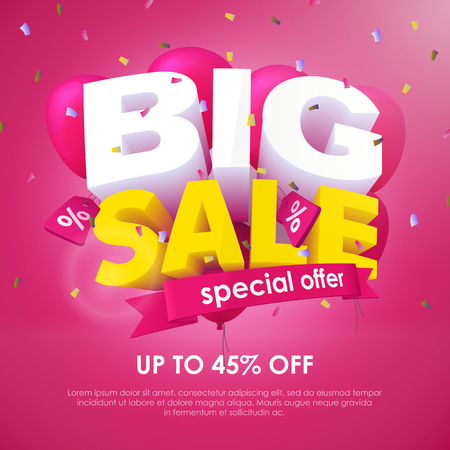Big Sale banner template design. Special offer, up to 45% off. End of season special offer banner. 3d inscription and balloons on a pink background. Sale poster for the promo. Vector Illustration Illustration