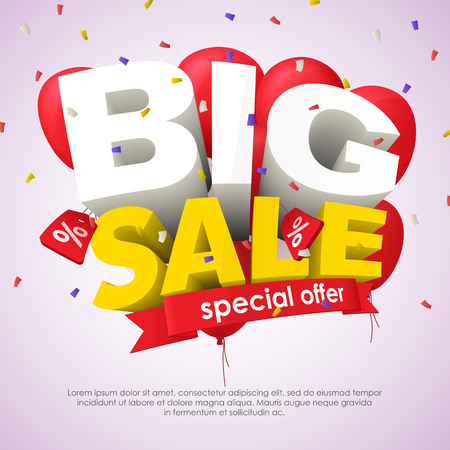 Big Sale banner template design. Big sale special offer. Seasonal discounts. 3d inscription and red balloons on a light background. Sale poster for the site and promo ads. Vector Illustration