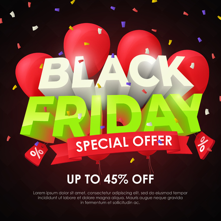 Black friday 2018. Sale banner template design. Beautiful discount and promotion banner. Special offer, up to 45% off. 3d inscription and red balloons on a dark background. Fashionable Vector image Stock Vector - 121995675