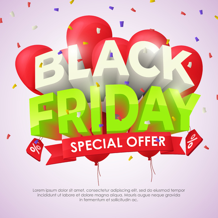 Black Friday sale poster with shiny balloons on light background with confetti. Beautiful discount and promotion banner. Template for ads in social networks. 3d letterse Vector image. Illustration