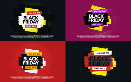 A set of banners Black Friday sale. Abstract ink blots on a background. Great discounts. Brush strokes. Black Friday template for banner or poster. Template design for ads. Vector illustration Illustration
