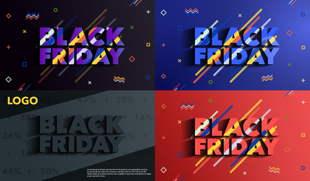 Black Friday. Sale and discounts banners. Background with colored lines. A set of banners templates in flat trendy memphis geometric style. An inscription with a long shadow. Vector illustration. Иллюстрация