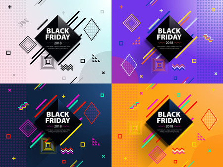 Black friday 2018. Sale and discounts fashion banners. A set of banners templates in flat trendy memphis geometric style. Abstract rhomb geometric design and background.  Fashionable vector image