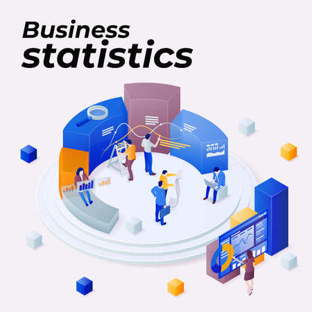 Statistics and business statement. Promoting business on the Internet. Seo optimization. People work in a team and achieve the goal. Consulting for company performance, analysis concept. Vector image