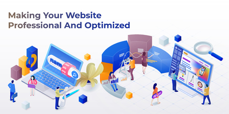 Web page design template for web studio in the modern 3d isometric style. Purchase of a domain name. Development of sites and mobile app. Search engine optimization and analytics. Vector illustration Ilustração Vetorial