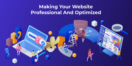 Template for the landing page and slider in the modern 3d isometric style. Purchase of a domain name. Development of sites and mobile app. Search engine optimization and analytics. Vector image