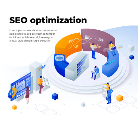 Search engine optimization and analytics. Promoting business on the Internet. Template in 3d isometric style. People work in a team and achieve the goal. Consulting for company performance.