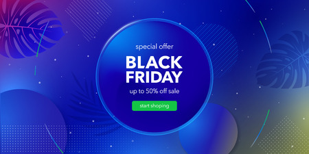 Black friday sale. Liquid color background design. Fluid gradient shapes composition. Banner with tropical plants, monsters and orchids. Colored vector illustration in neon colors. Illustration