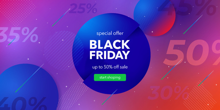 Black friday sale. Liquid color background design. Fluid gradient shapes composition. Social media web banner for shopping, sale, product promotion. Colored vector illustration in neon colors. Stock Vector - 121995812