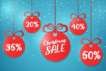 Christmas and New Year's sale 2019. Beautiful discount and promotion red Christmas balls. Special offer vector tag. New year holiday card template. Shop market poster design. Vector illustration.