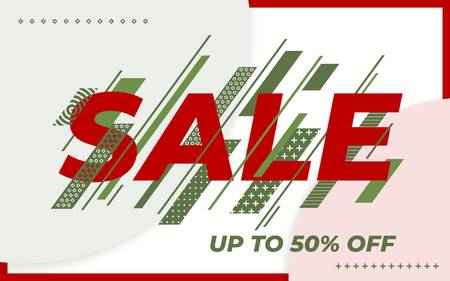 Sale banner template design. End of season special offer banner. Social media web banner for shopping. Template in a fashionable style. Green dynamic lines and red text. Vector illustration
