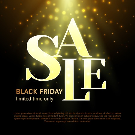 Black friday Luxury sale banner. Stylish text on a black background with highlights and light. Promo template for website, social network. Vector illustration Stock Vector - 121995830
