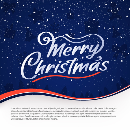 Merry Christmas vector text. Calligraphy Font style Banner. Calligraphic Lettering design card template. Calligraphy Font composition on blue background. Vector illustration Stock Vector - 121995832