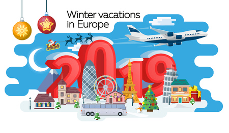 New Year and winter travel banner. Christmas travel, Europe winter town, snow village. Traveling by plane and bus. The winter vacation. Santa Claus. Creative numbers 2019. Vector image