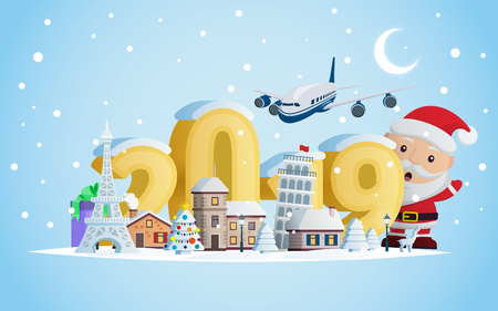 New year 2019. Greeting card. Santa Claus and volumetric numbers 2019. The winter vacation.  A small town in the mountains at night. Christmas travel vector illustration.