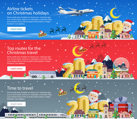 Merry Christmas 2019. Banners set for advertising.  The winter vacation. Traveling by plane, bus and train. Santa Claus and the village. Christmas travel vector illustration Illustration