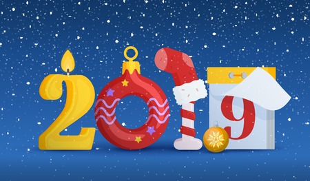 2019 Happy new year. Greeting card with new year and christmas. Figures in the form of a candle, Christmas ball, Candy Cane, calendar. Background for New Years advertising and congratulations. Illustration