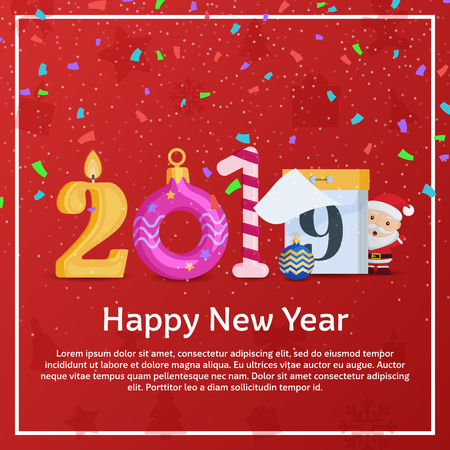 Greeting card with new year and Christmas. 2019 Happy new year. Figures in the form of a candle, Christmas ball, Candy Cane, calendar. Background for New Years advertising and congratulations.