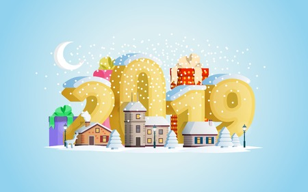 New year 2019. Greeting card. A small town in mountains. The winter vacation. Flat 3d numbers and objects. Mountains, buildings, trees and snow. Christmas travel vector illustration.