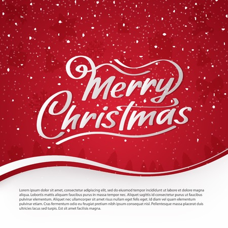 Merry Christmas vector text. Calligraphy Font style Banner. Calligraphic Lettering design card template. Banner with snow on a red background. Vector illustration Illustration