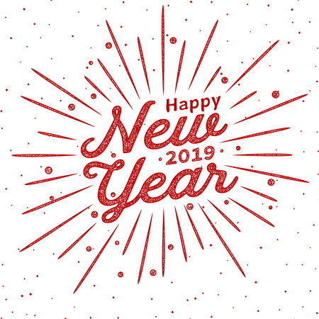 Happy 2019 New Year. Lettering font text card. Vintage festive label. Typography inscription decoration poster. Holiday Vector Illustration