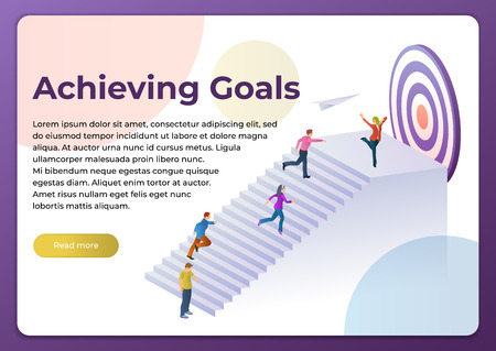 People run to their goal up the stairs. Vector illustration in flat 3d style. Competition and Achieving Success at Work. Move up Motivation, the Path to the Target's Achievement. Template for website