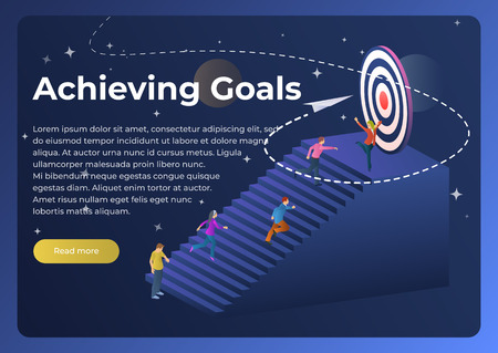 People run to their goal up the stairs. Vector illustration in flat 3d style. Office Finance Business Success. Move up Motivation, the Path to the Target's Achievement. Template for website and poster