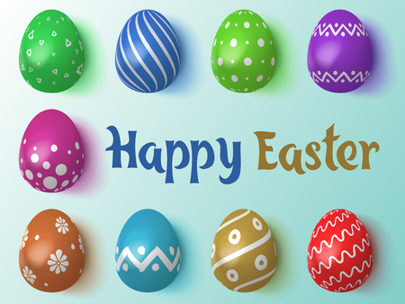 Happy Easter 2019. Vector Illustration. Set of Easter eggs with different tracery on an Isolated Background. Realistic chicken eggs with lighting and shadow. Holiday background.