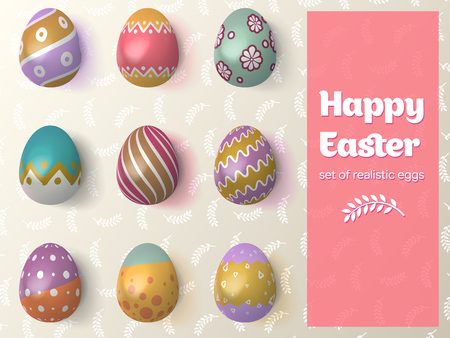 Happy Easter 2019. Set of Easter eggs with different tracery on an Isolated Background. Realistic chicken eggs with lighting and shadow.  Items for advertising, greeting cards. Vector Illustration.