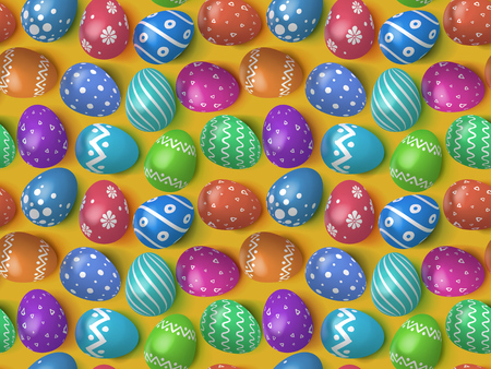 Many decorated Easter eggs 2019 as background. Seamless pattern for advertising, greeting cards and gift wrap. Colorful Easter eggs in 3d realistic style top view. Holiday background. Vector illustration