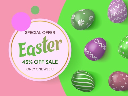 Happy Easter lettering background with realistic Colorful decorated eggs top view. Composition of 3D Easter eggs. Spring sale 2019. Vector illustration greeting card, ad, promotion, poster.