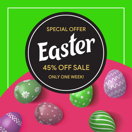 Special offer. Easter sale. 45% off sale. Colorful Easter eggs in 3d realistic style top view. Template for advertisements, web sites, promotions, posters, flyers. Vector illustration Иллюстрация