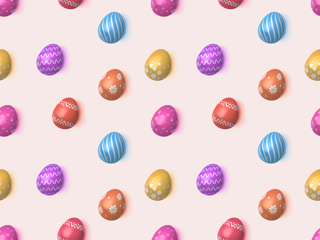 Vector seamless gentle pattern with 3d realistic decorative eggs. Colorful easter eggs on light background. Spring holiday wallpaper for website, printing, gift wrap, advertising. Vector illustration