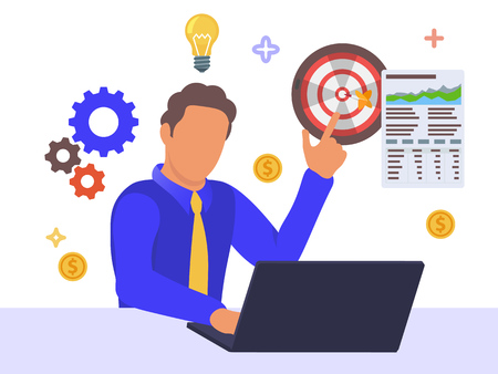 Office workers are studying the infographic, data analysis and strategy. Vector illustration of business. A man sits in front of a laptop and points his finger up. Business intelligence dashboard.