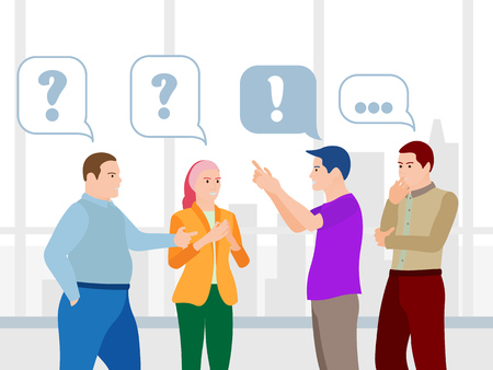 Business People Communication Flat style Vector Illustration. Men and Women Talk. The Team Communicates and Searches for Ideas Problem Solving, Use in Web Projects and Applications. Ilustração