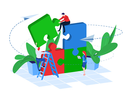 Business Team at Work. Vector illustration in flat 3d style. Team Metaphor. People Connecting Puzzle Elements. Success in teamwork. Planning Strategy, Searching Problem Solution.