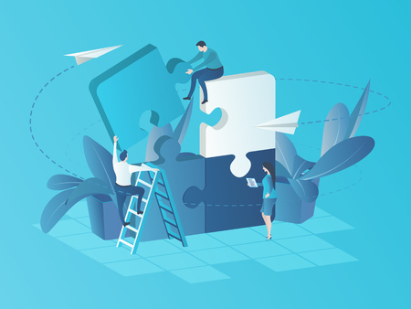 Business Team at Work. Vector illustration in flat 3d style. Team Metaphor. People Connecting Puzzle Elements. Success in teamwork. Symbol of cooperation, partnership. Illustration for Landing Page.
