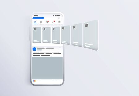 Promotion in social media. Smartphone with interface carousel post on social network.  Screen phone with the application. Design template from landing page or banner. Modern white smartphone 2019. Illustration