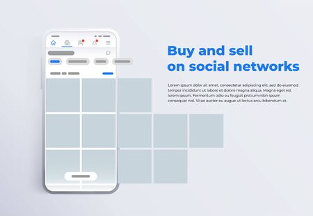 News feed in a social network in the form of a grid. Promotion in social media. Smartphone with social network interface. Screen phone with the application. Design template from landing page or banner Фото со стока - 132823916