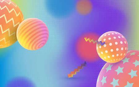 Modèle de vecteur de conception de couverture de style Memphis 3D. Abstrait pour le web. Dégradé multicolore. Fond 3D holographique de mode. Image pour bannière et affiche publicitaire.