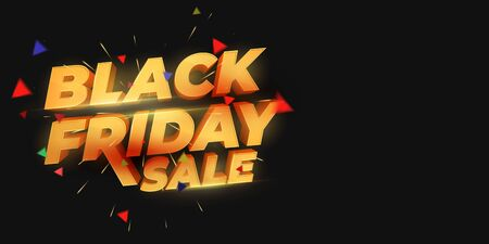 Black Friday Sale. 3d letters numbers gold. Sale and discounts banners. Creative glowing social media banner design. Design element for sale banners, posters, cards. Vector Illustration Иллюстрация