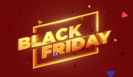 Black Friday 3D text. Sale banner template design. Beautiful discount and promotion banner. Letters with highlights and sparks. Luxury Golden 3D text. Design element for sale banners, posters, cards Фото со стока - 132655809