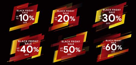 Black friday 2019. Big Sale. Set of banners for web, social networks and advertising. Tags for discounts. Modern dynamic labels. Banners of geometric shapes with sharp corners. Vector illustration.