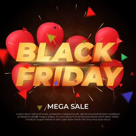 Black Friday Sale label. Discount and promotion banner. Volumetric letters of gold color. 3d inscription, ribbons and red balloons on a dark background. Design element for sale banners, posters. Illustration
