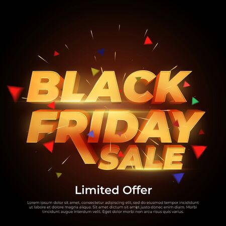 Black Friday Sale. 3d letters numbers gold. Sale and discounts banners. Creative glowing social media banner design. Design element for sale banners, posters, cards. Vector Illustration Illustration
