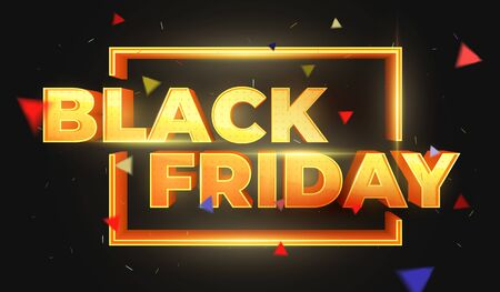 Black Friday 3D text. Sale banner template design. Beautiful discount and promotion banner. Letters with highlights and sparks. Luxury Golden 3D text. Design element for sale banners, posters, cards Illustration