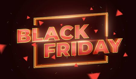 Black Friday Sale Promotion Poster or banner. Social Media Banner Design Template. 3d inscription with highlights and sparks of gold and red colors. Discount and promotion banner. Vector Illustration Illustration