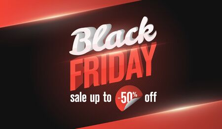 Black Friday sale web banner template. Social Media Banner Design Template. Social Media Banner Design Template. 3d letters of white and red color with highlights and shadows. Vector image Illustration