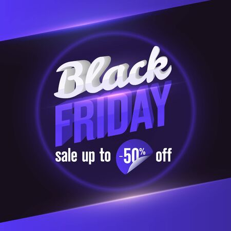 Black Friday sale web banner template. Trending Social Media Banner Design Template. Design element for sale banners, posters, cards. 3d letters of white and blue color with highlights and shadows.